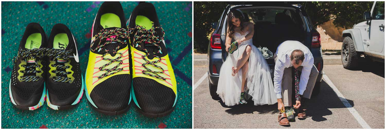 hiking shoes on PDX carpet mat for adventure bride and groom