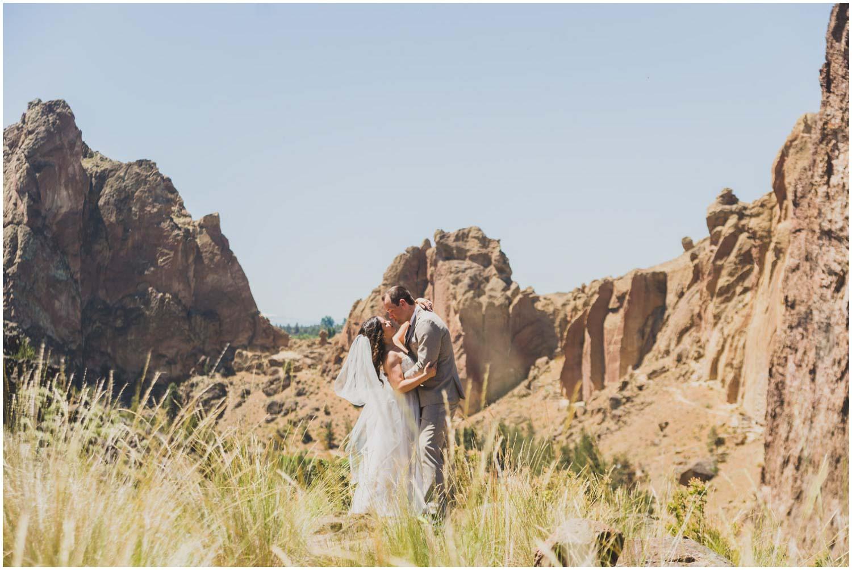 bride and groom adventure portraits smith rock bend oregon