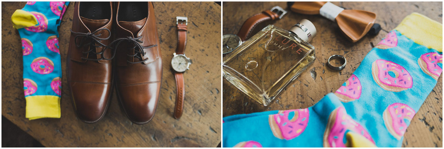 groom's details shoes, fun socks, watch, and cologne