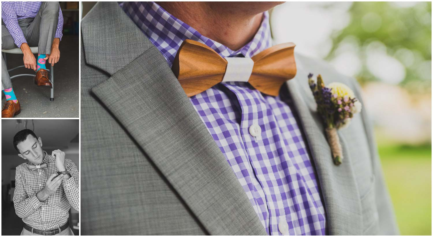 groom putting on watch and shoes with doughnut socks, purple gingham shirt, and wood tie