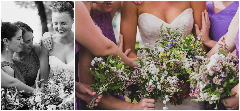 bridesmaids pray over bride before wedding ceremony