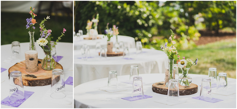 romantic summer backyard wedding table settings with custom pint glasses