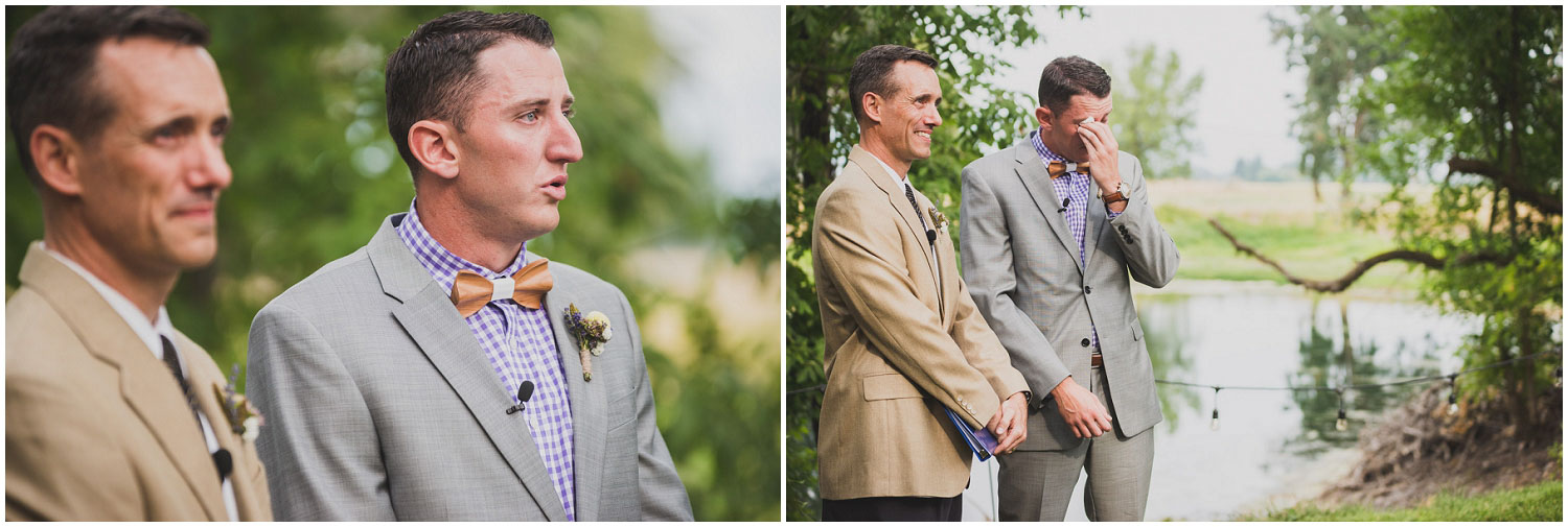 emotional groom watches bride walk down the aisle