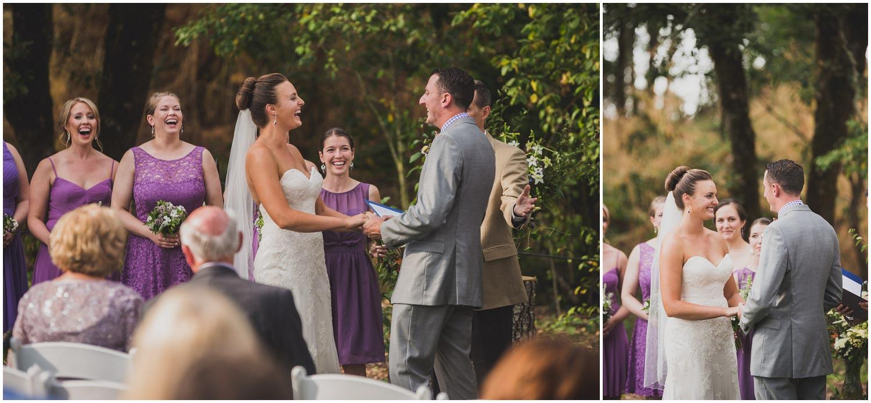 bride laughing during romantic backyard wedding