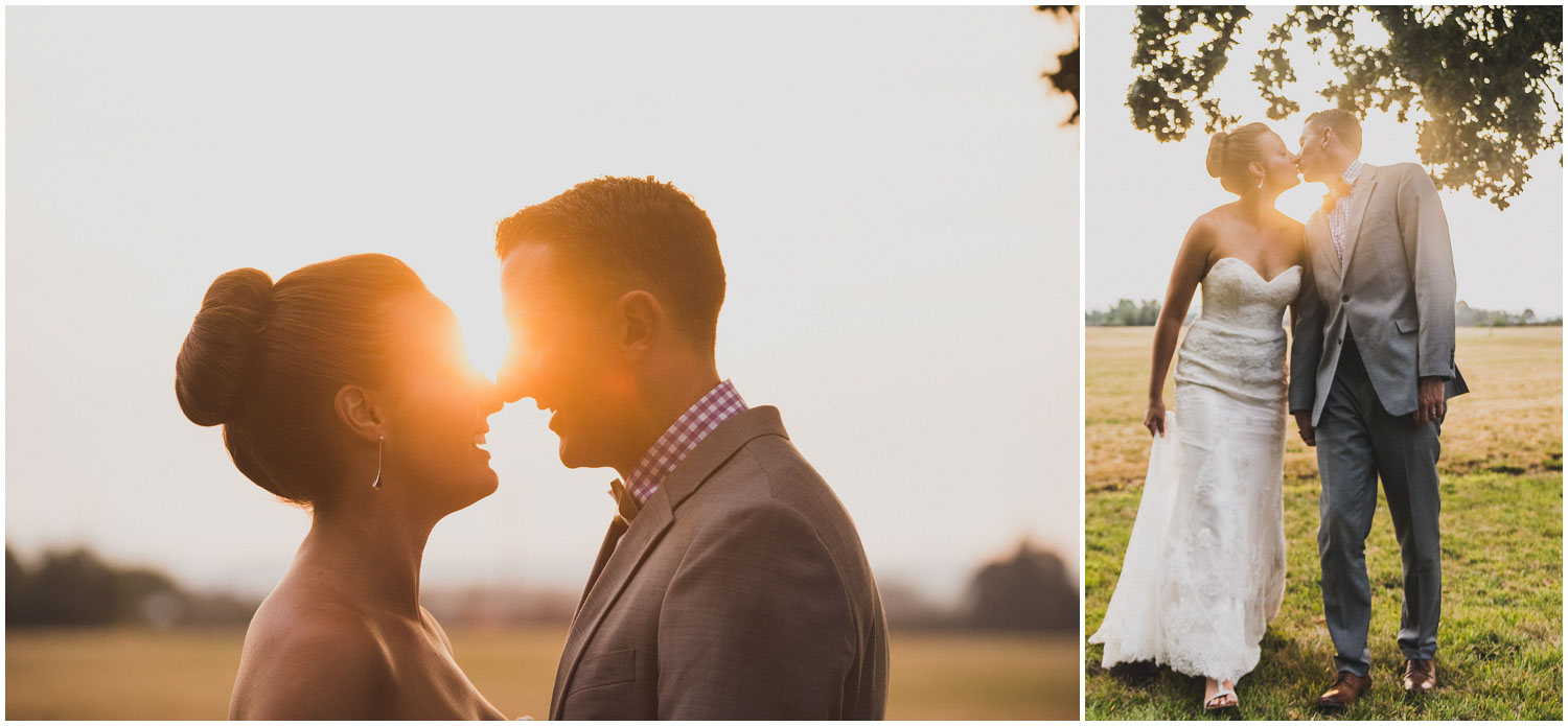 summer golden hour sunset wedding portaits with bride and groom