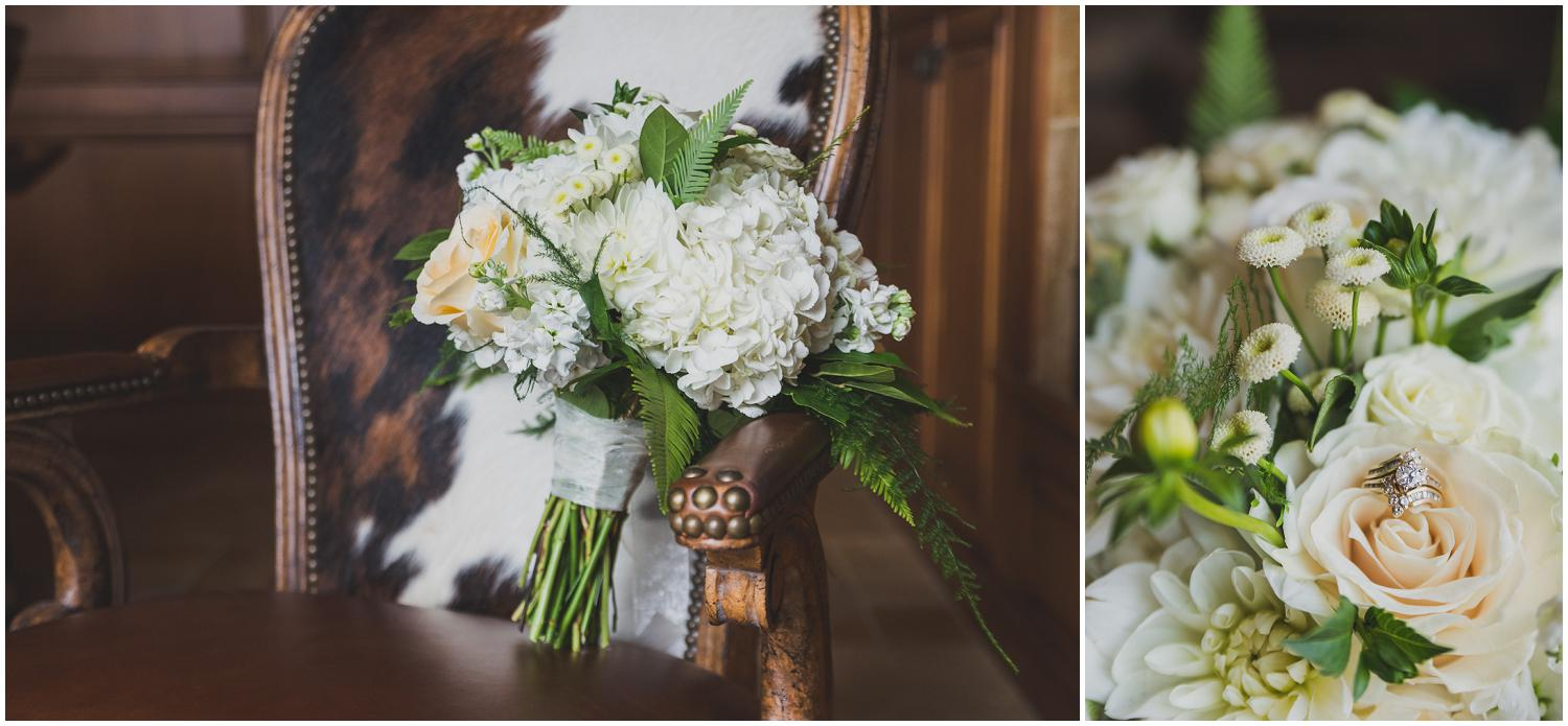 detail photography of bridal bouquet sitting in cow hide western chair