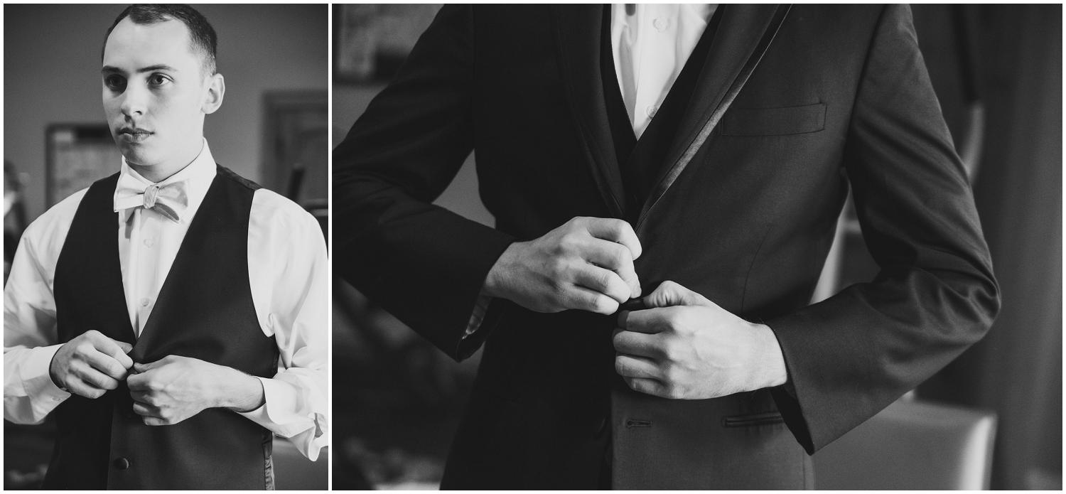 black and white behind the scenes portraits of groom getting dressed for his wedding