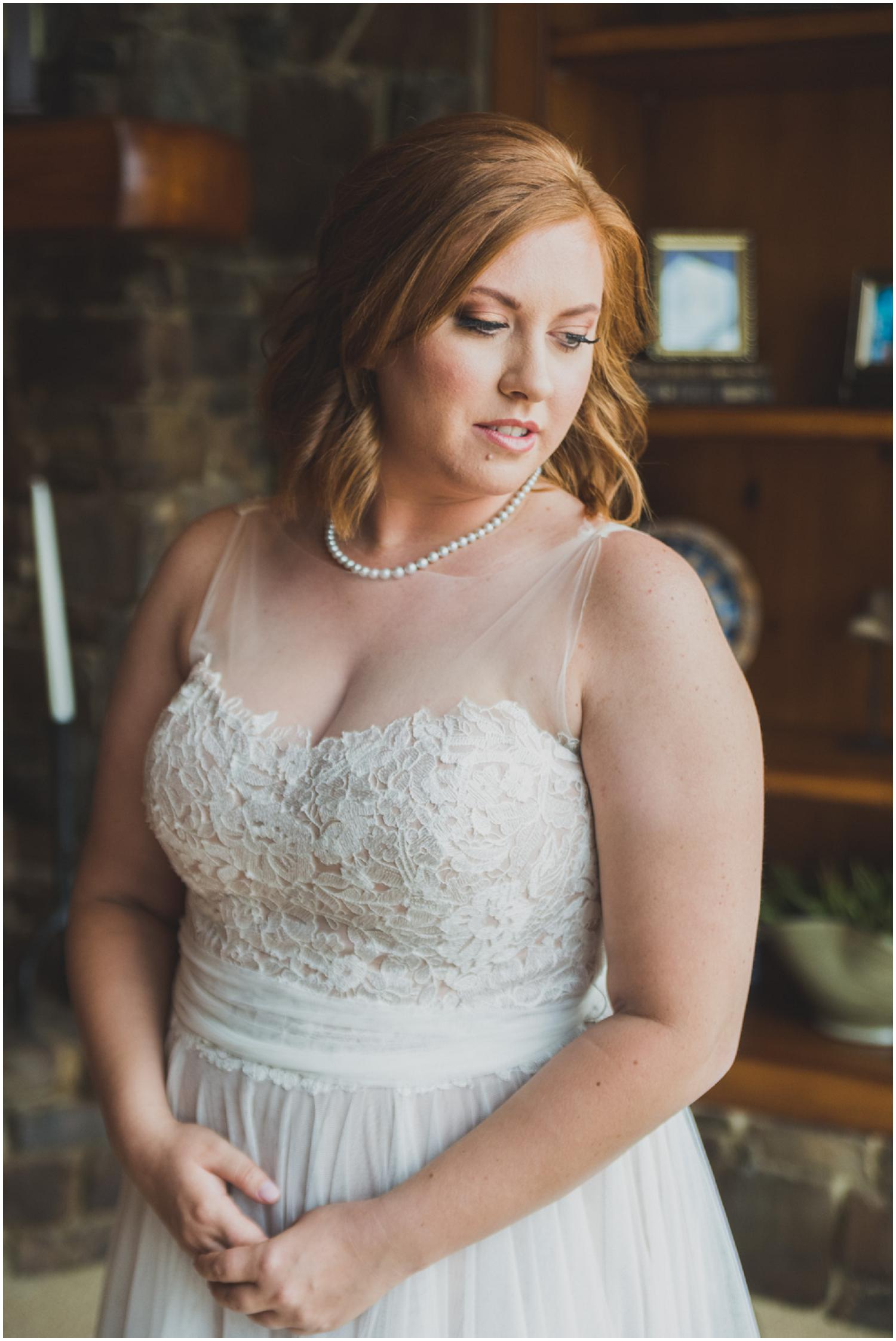 beautiful ginger bride in BHLDN dress on her wedding day
