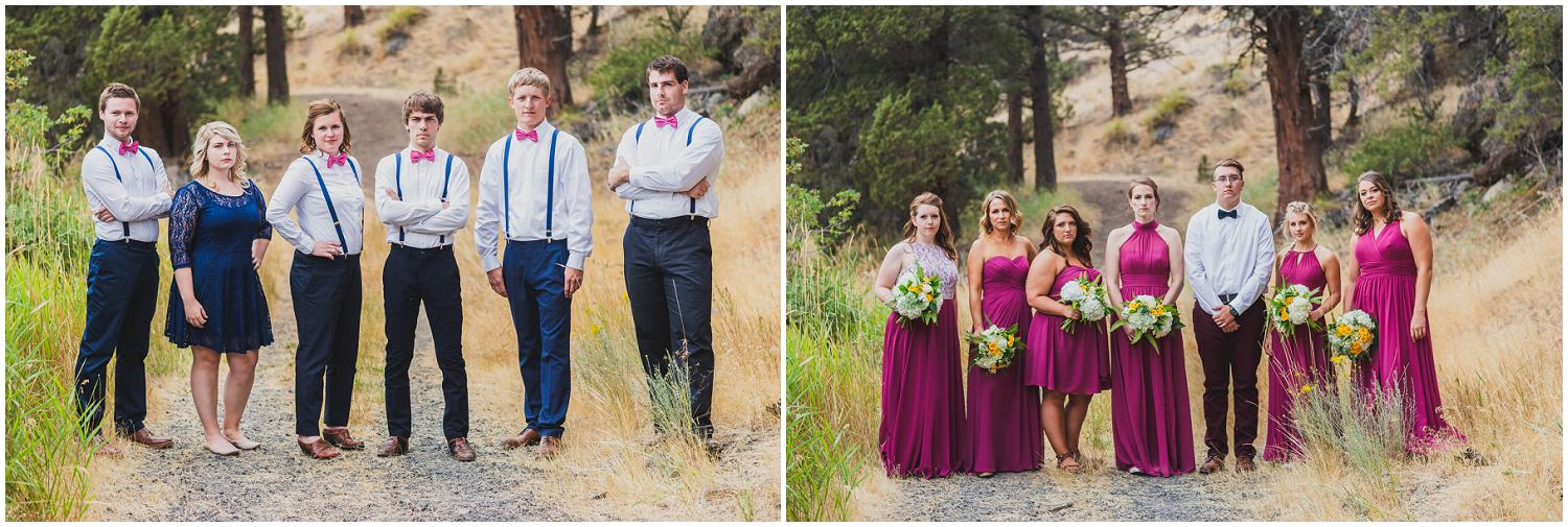 mixed gender wedding party wearing marsala and navy