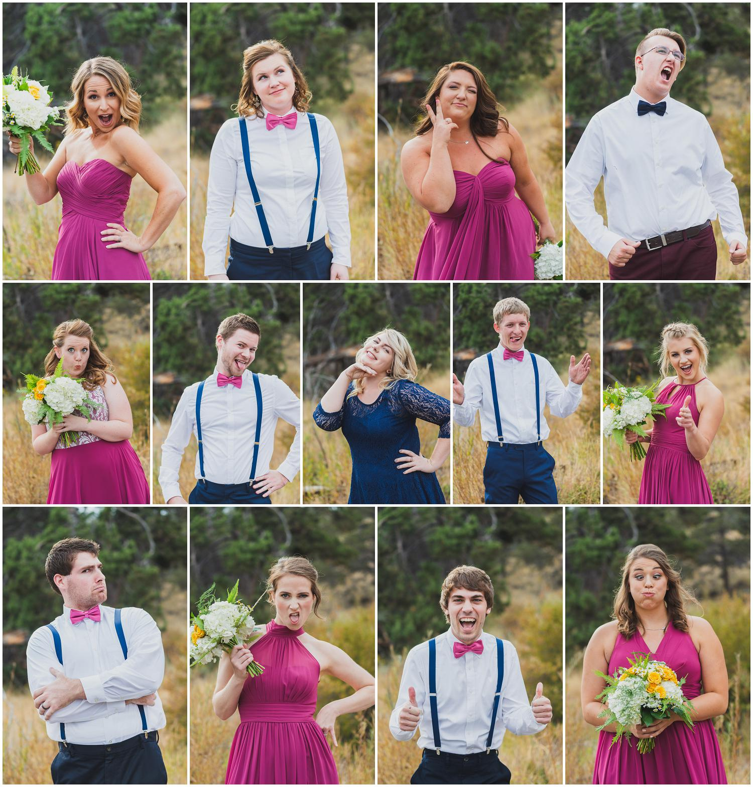 mixed gender wedding party each making a silly face to lighten the mood