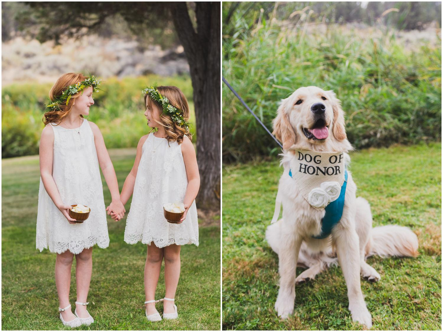 cute flower girls holding hands and dog of honor being such a good boy