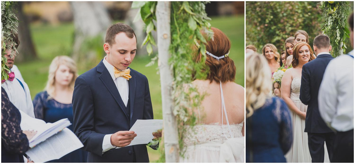 groom reading his vows during wedding ceremony