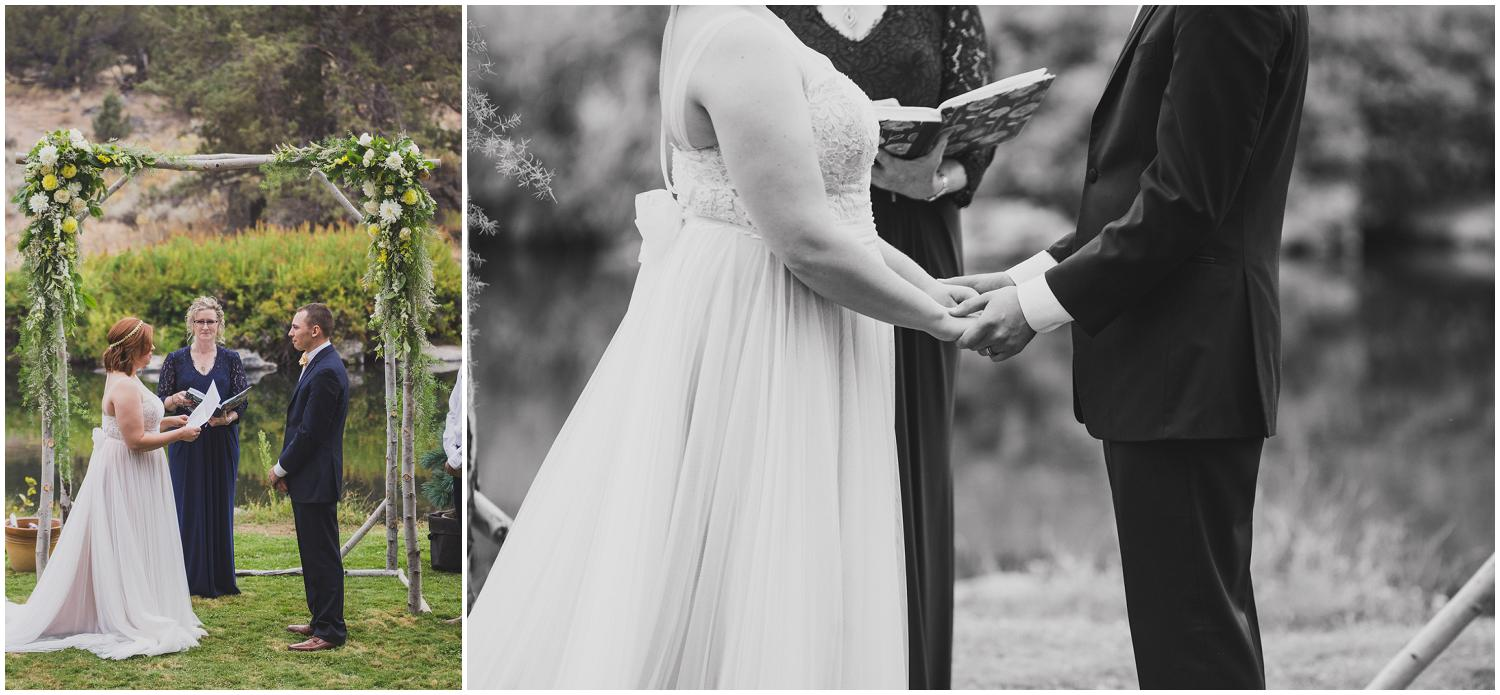 bride reading her vows during wedding ceremony