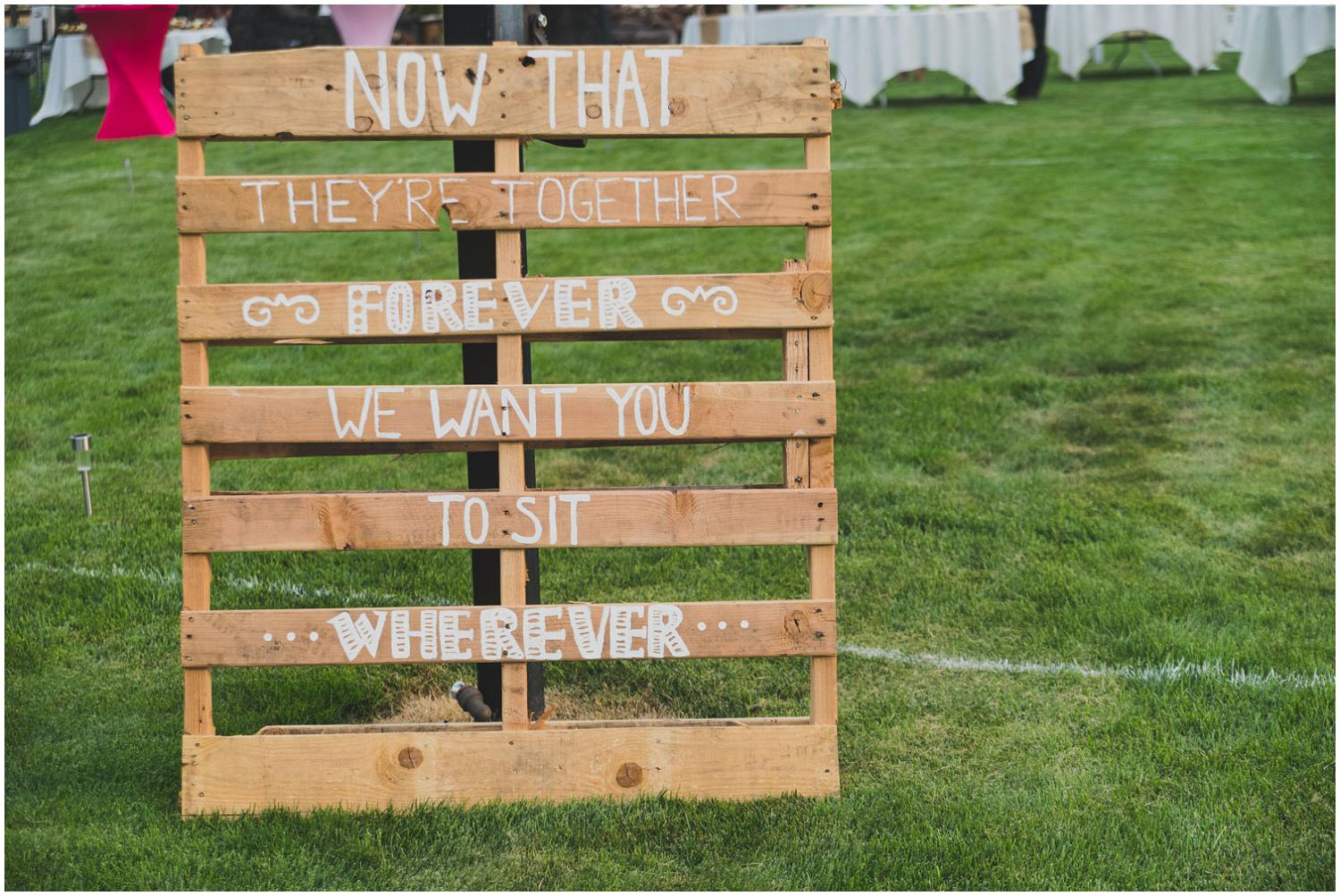 palate sign for wedding reception seating