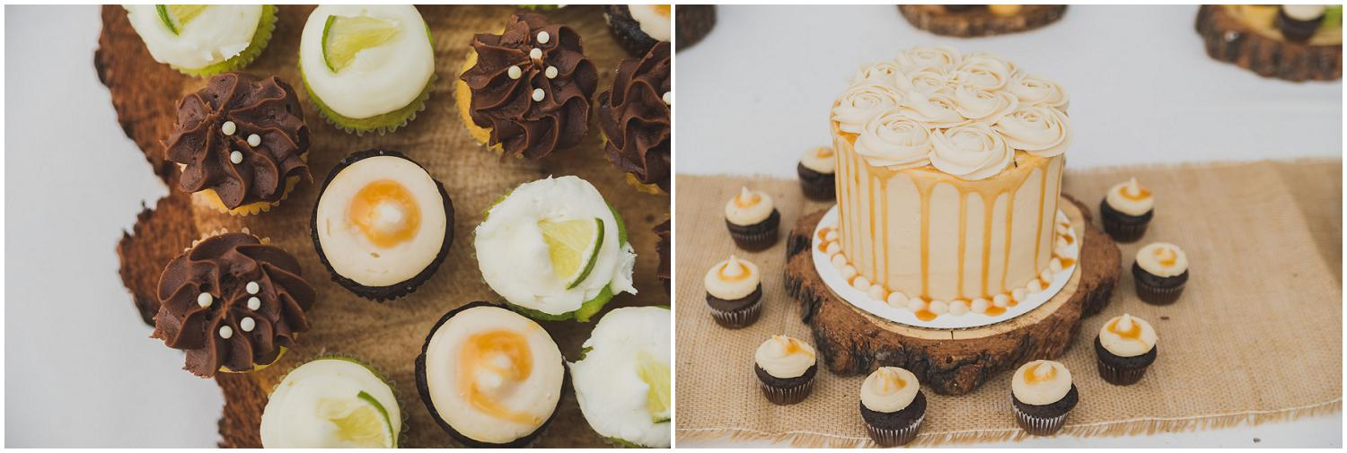 caramel drip wedding cake with cupcakes for guests