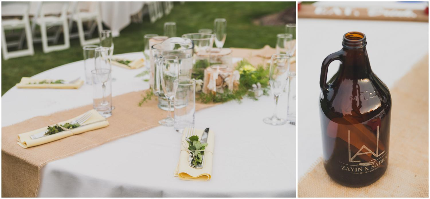 wedding reception tables during central oregon golden hour with custom wedding growler