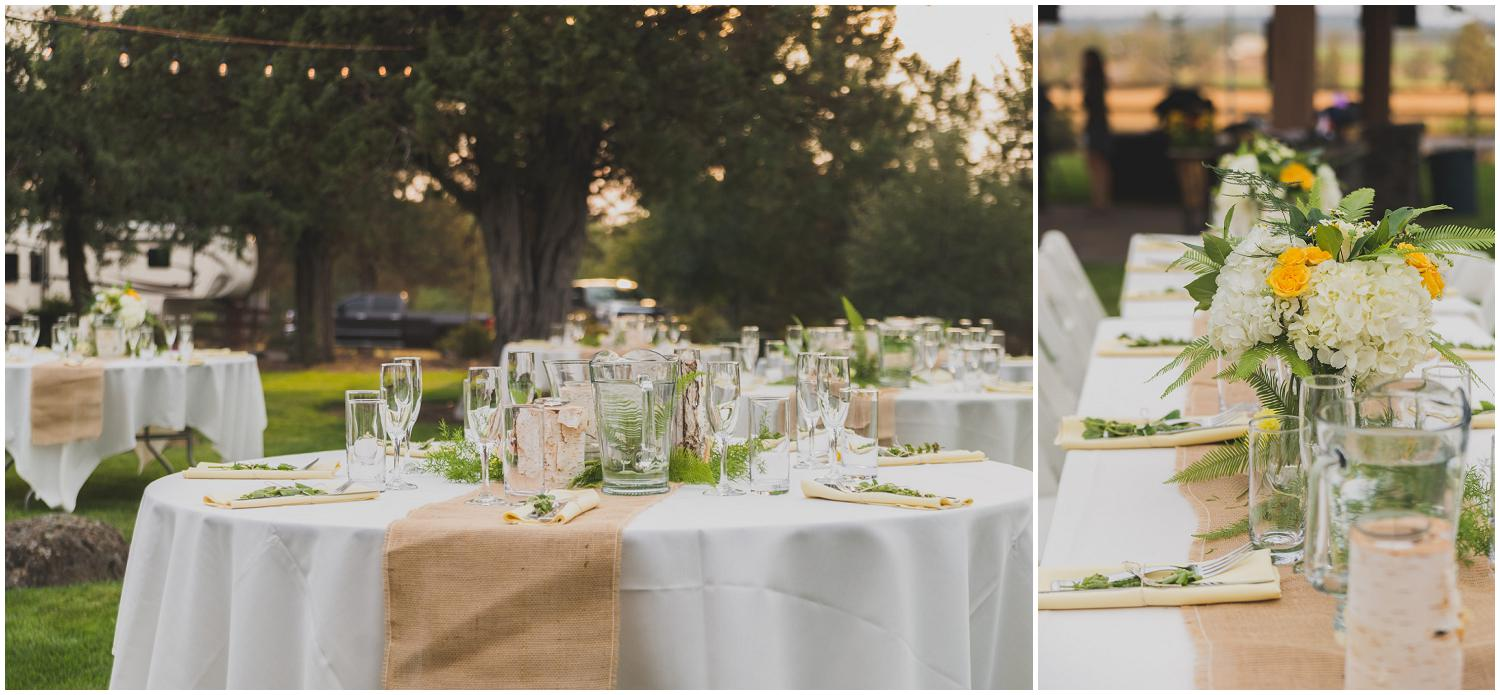 beautiful outdoor wedding reception tables with burlap runners