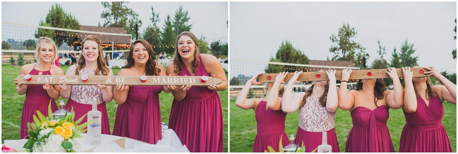 bridesmaids showing off before doing a tequela shot ski
