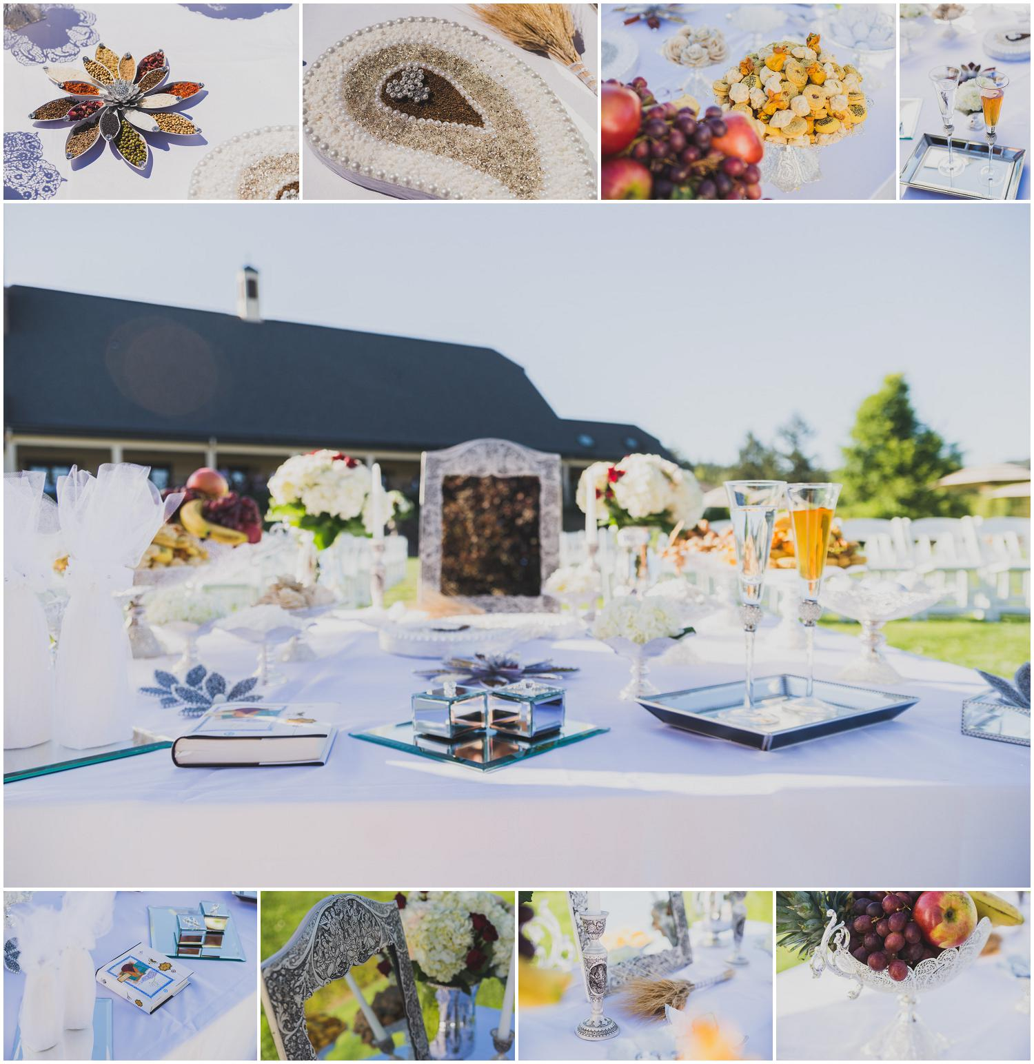 ceremony table details for persian american blended wedding at zenith vineyards