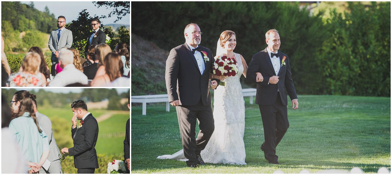 groom gets emotional as bride walks down the aisle toward him for wedding ceremony