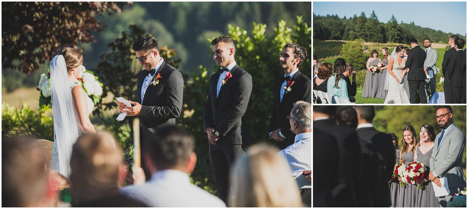 groom adds humor to his vows and everybody laughs