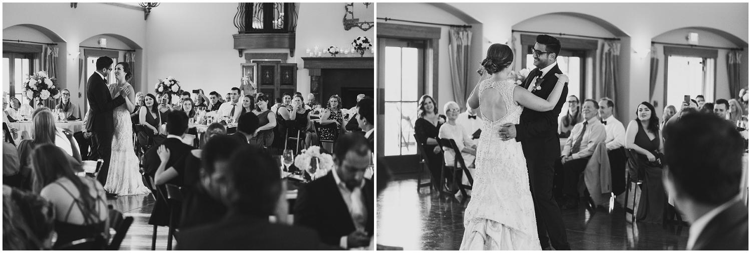 bride and groom first dance as married couple