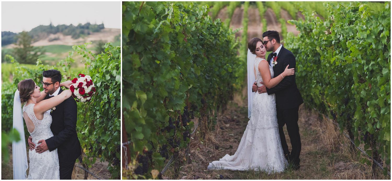 bride and groom catch golden hour light at zenith vineyard during wedding reception
