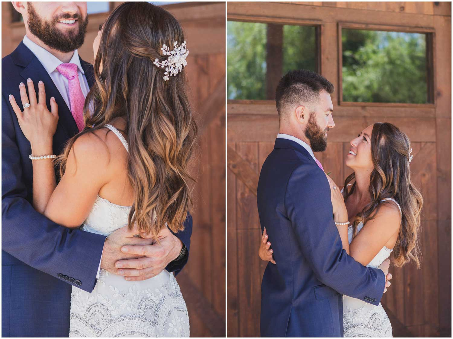 bearded groom in blue snuggles with bride in beaded art deco dress during first look