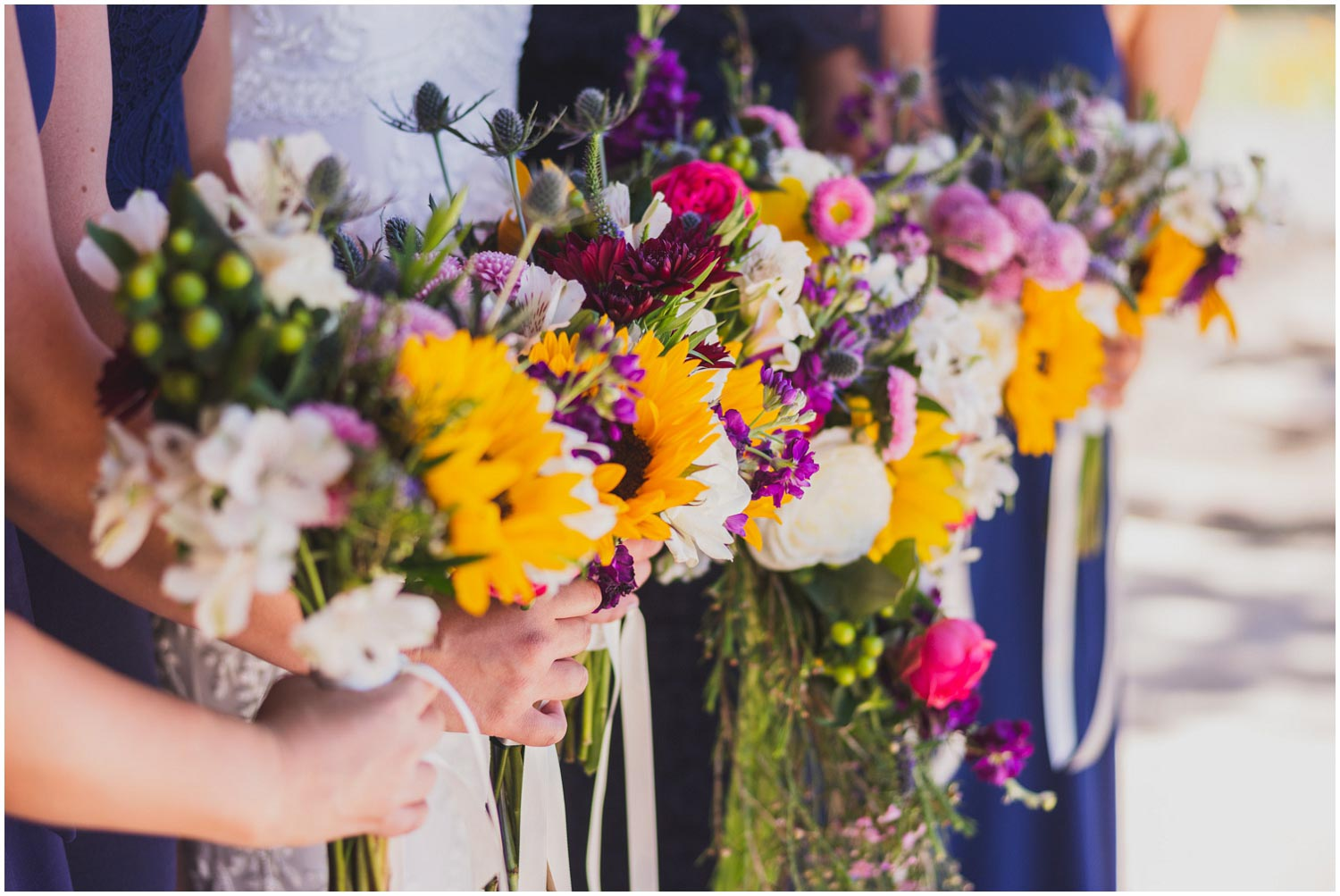 detail photograph of colorful wildflower bouquets