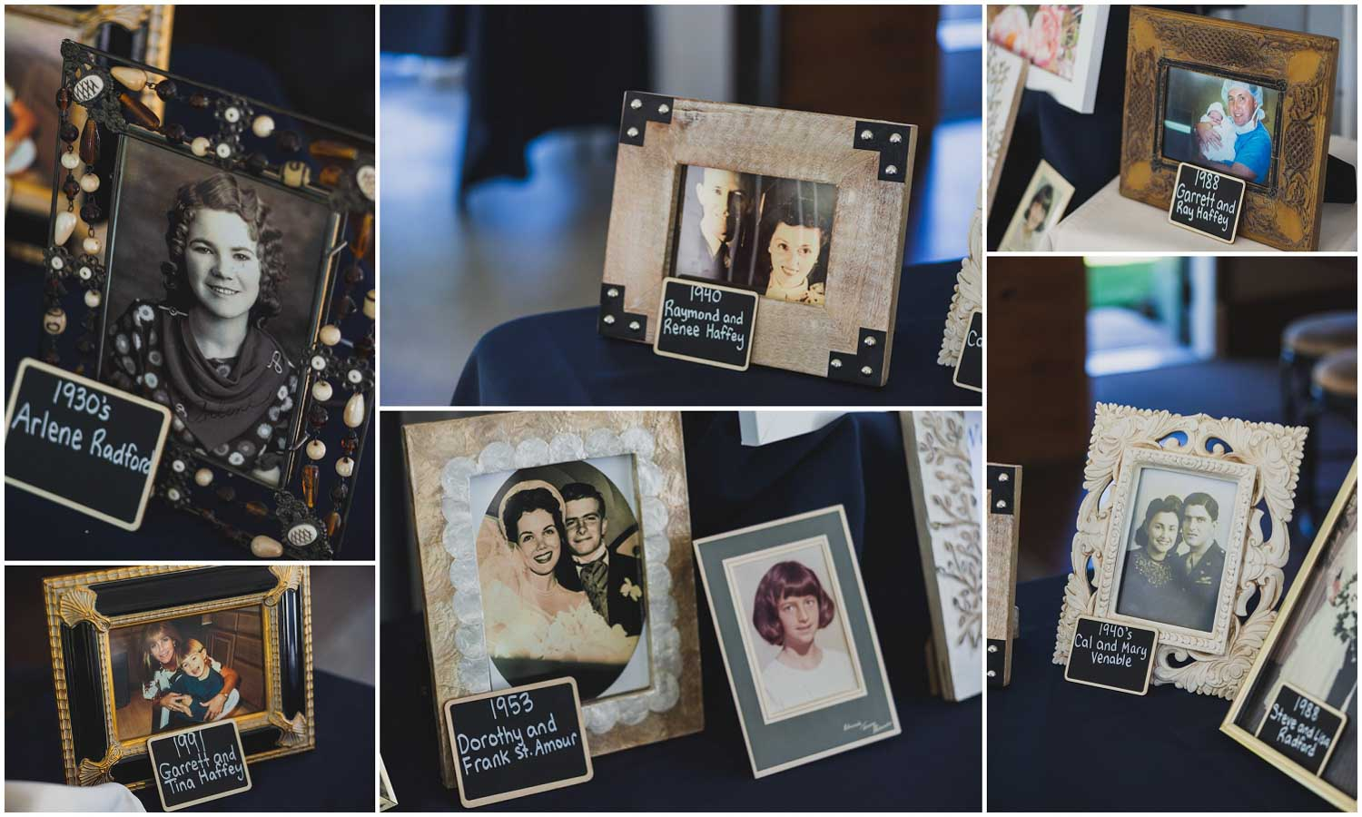 thoughtful display of bride and grooms family portraits