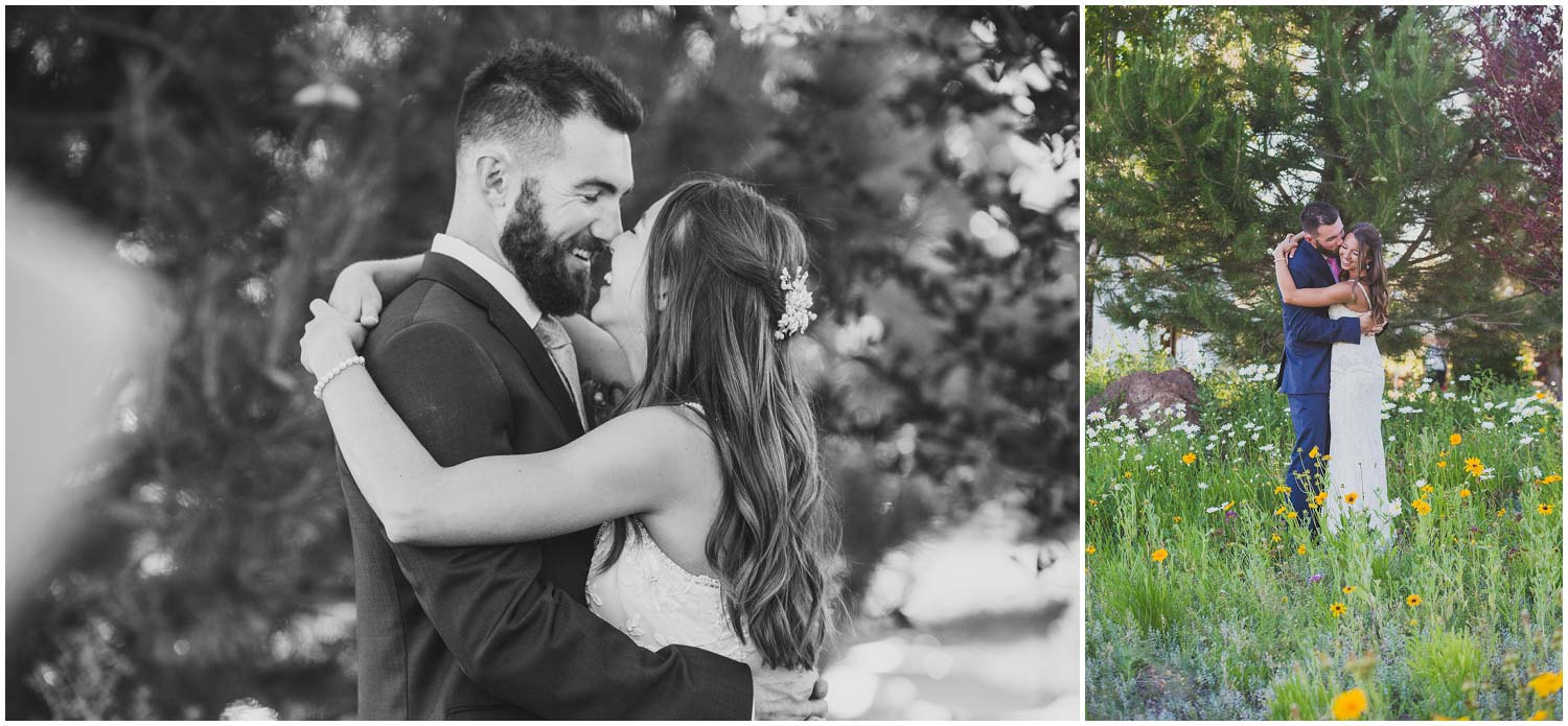 newly weds enjoy some golden hour snuggles during wedding reception