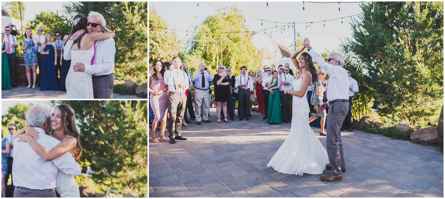 bride dancing with dad in courtyard at faith hope and charity vineyard during wedding reception