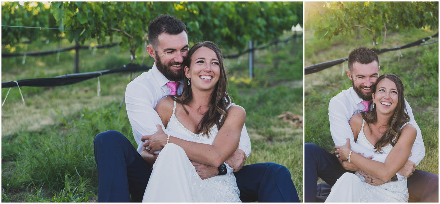 bride and groom sitting in vineyard after wedding ceremony at faith hope and charity vineyard
