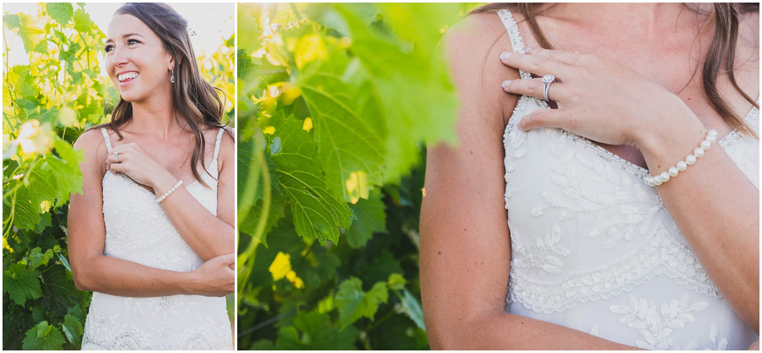 smiling bride portrait during golden hour in the vineyard at faith hope and charity