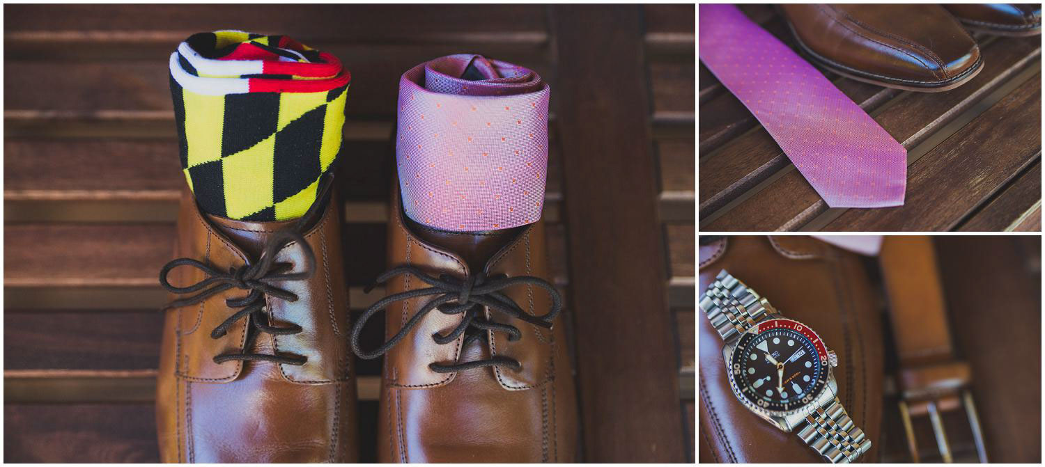 grooms details including fun socks, tie, shoes, and watch