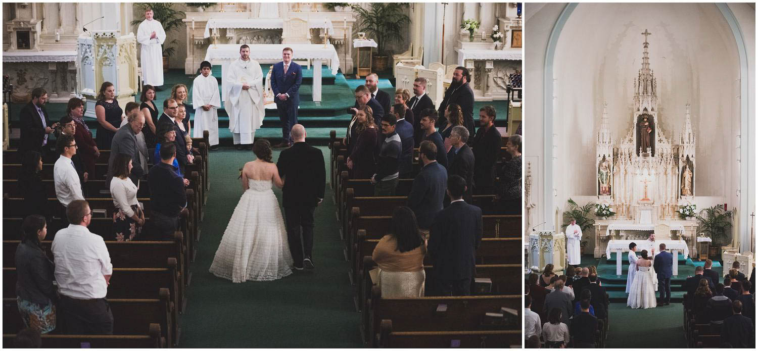 bride walking down the aisle toward groom for their wedding at the historic catholic church in bend oregon