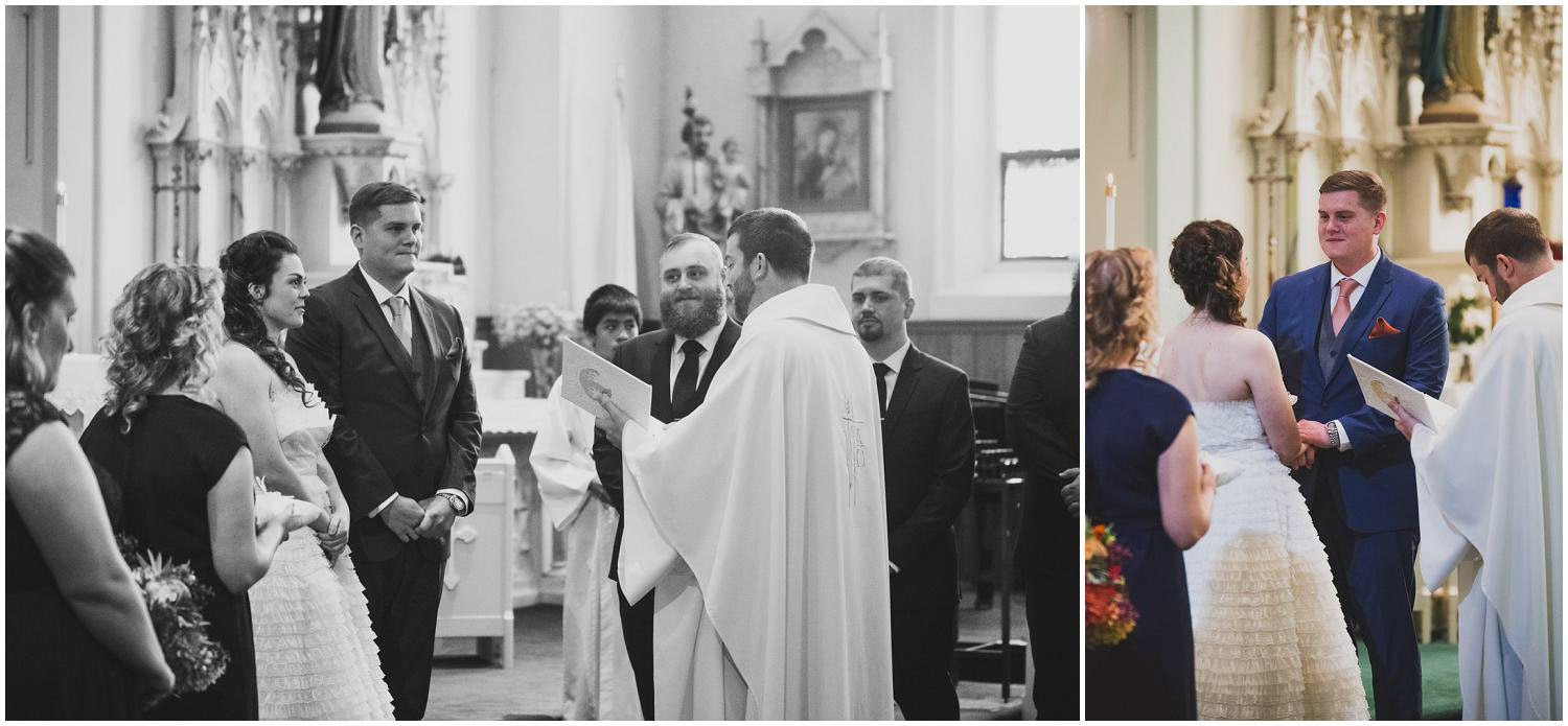 bride and groom reciting their vows during catholic wedding ceremony in bend oregon