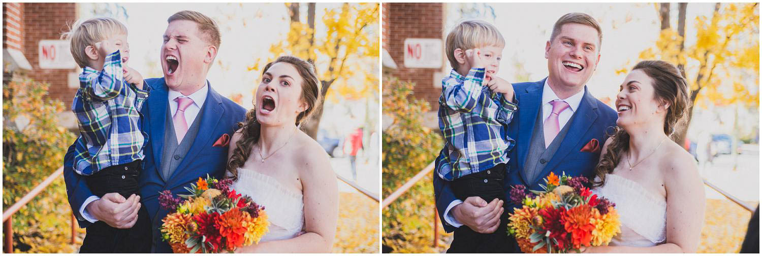 newly wed couple make silly faces with their son