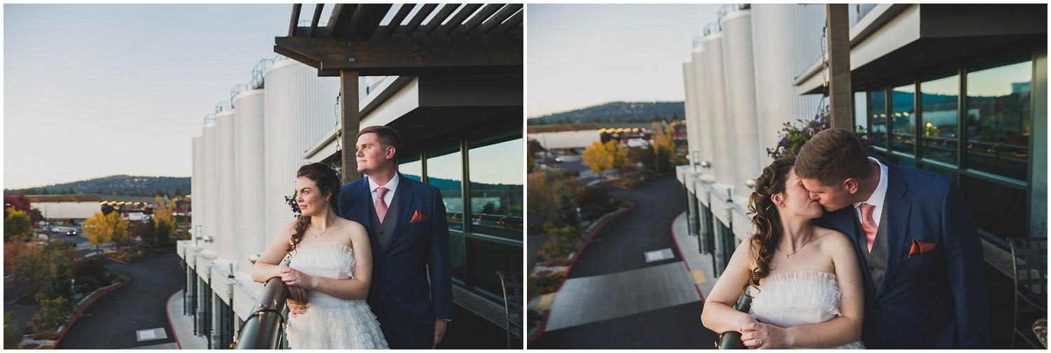 newly wed bride and groom take in the view from the deschutes brewery mountain room deck during reception