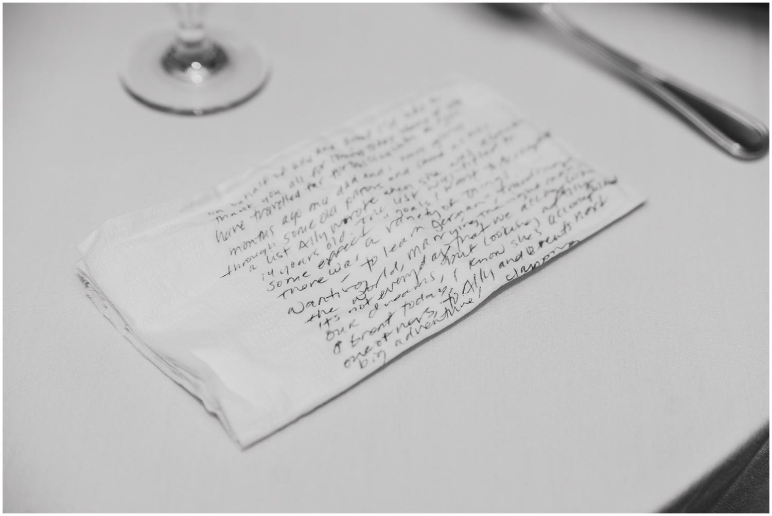 last minutes changes to a wedding toast scribbled on napkin