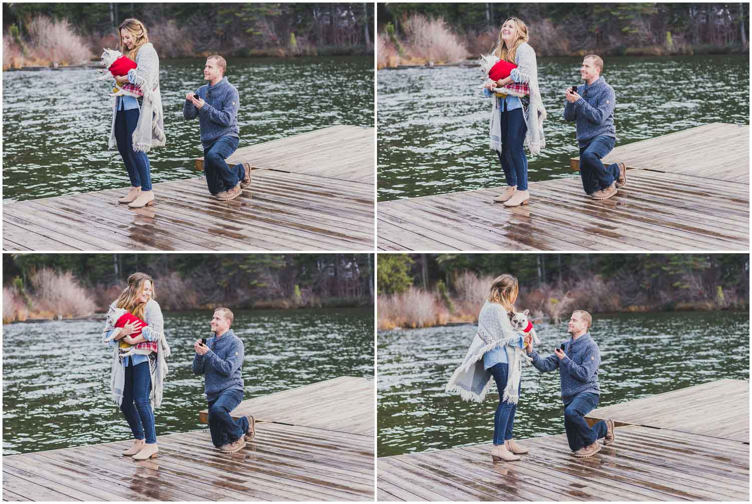 boyfriend uses dog to help him propose to girlfriend on lake dock outside sisters oregon