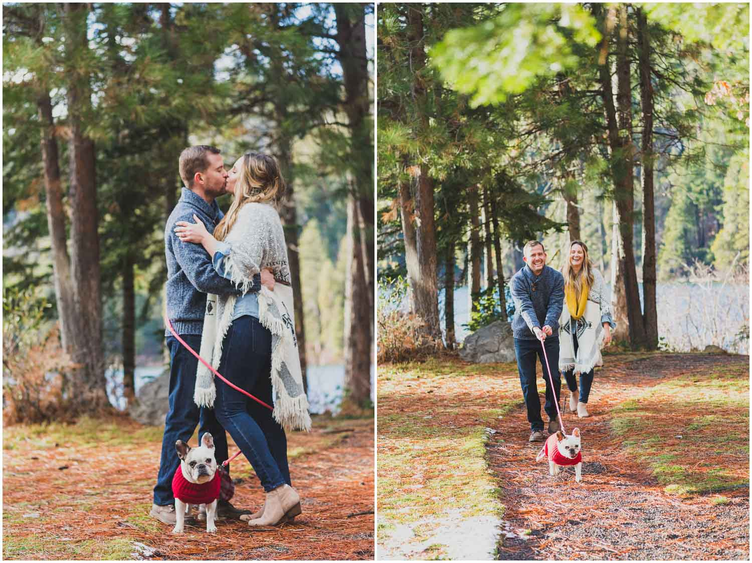 engaged couple kissing while dog wraps them up in leash at suttle lake