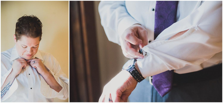 bride getting dressed in suite
