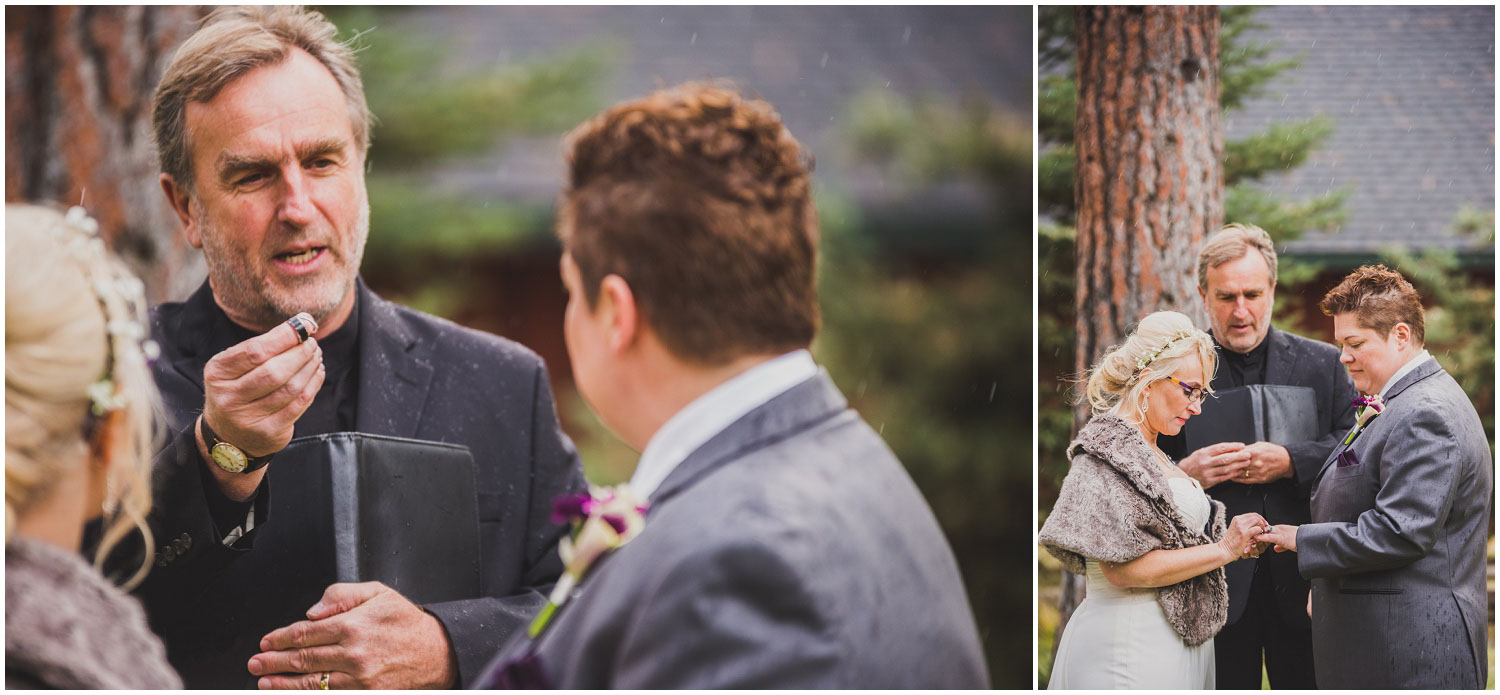 wedding officiant explains meaning as brides exchange rings