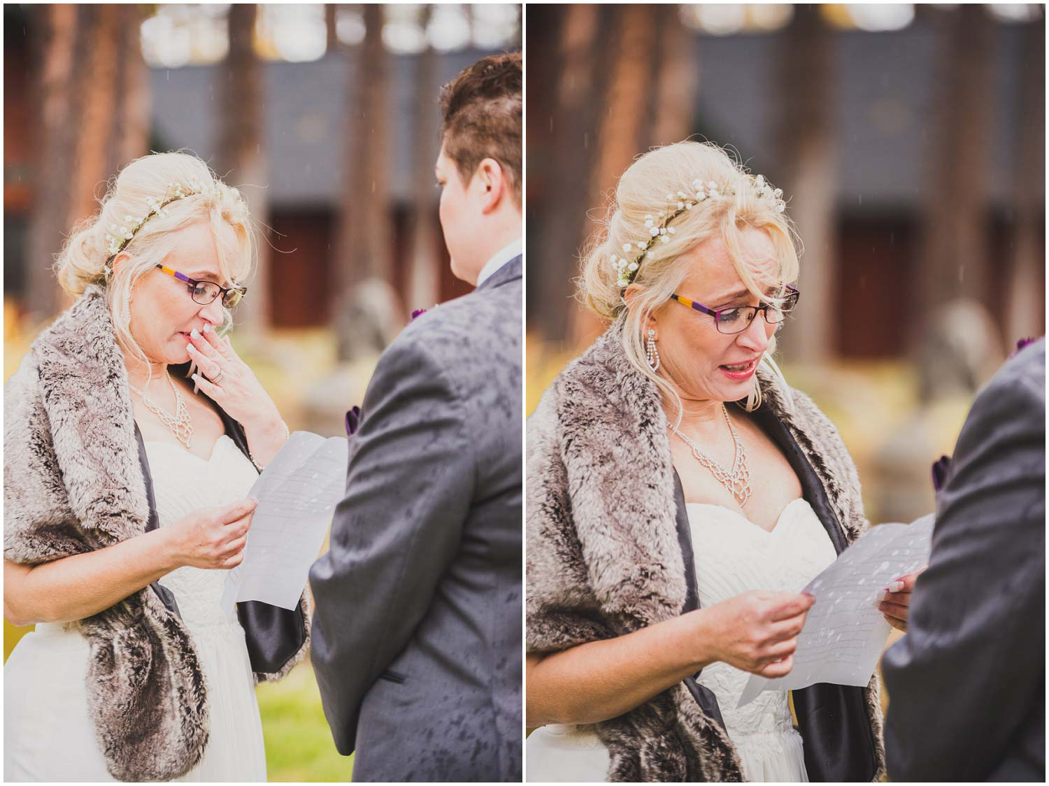 bride getting emotional as she reads her vows in the rain