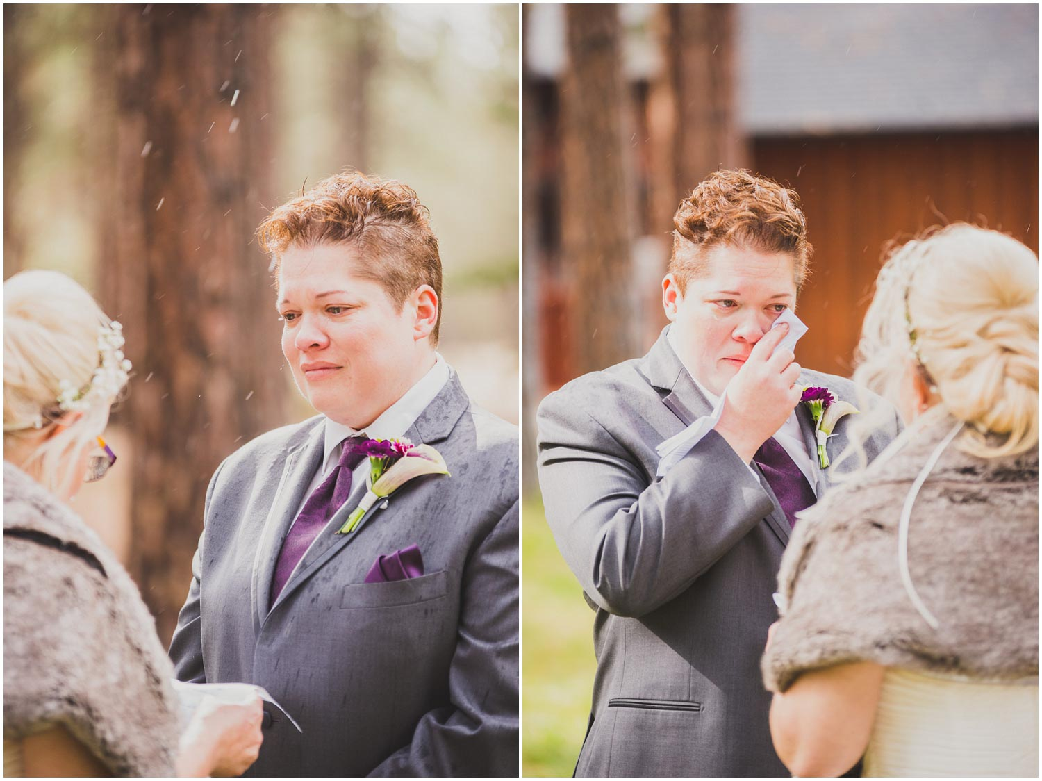 bride crying as she listens to vows during wedding ceremony
