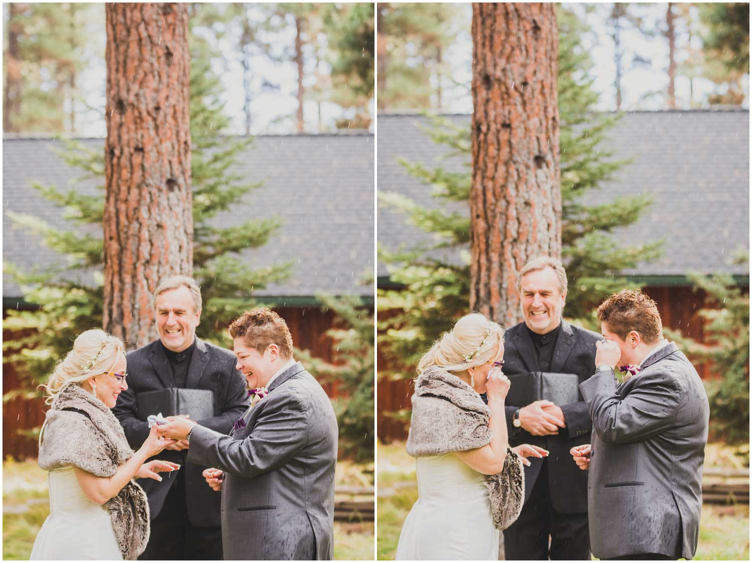 brides and officiant laughing and crying during rainy wedding ceremony at fine pine lodge sisters oregon