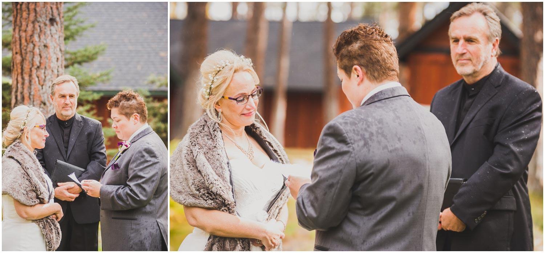 brides exchange vows during wedding ceremony