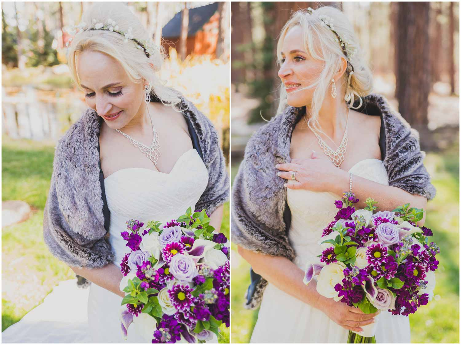 beautiful bride in white dress and fur shawl with purple bouquet