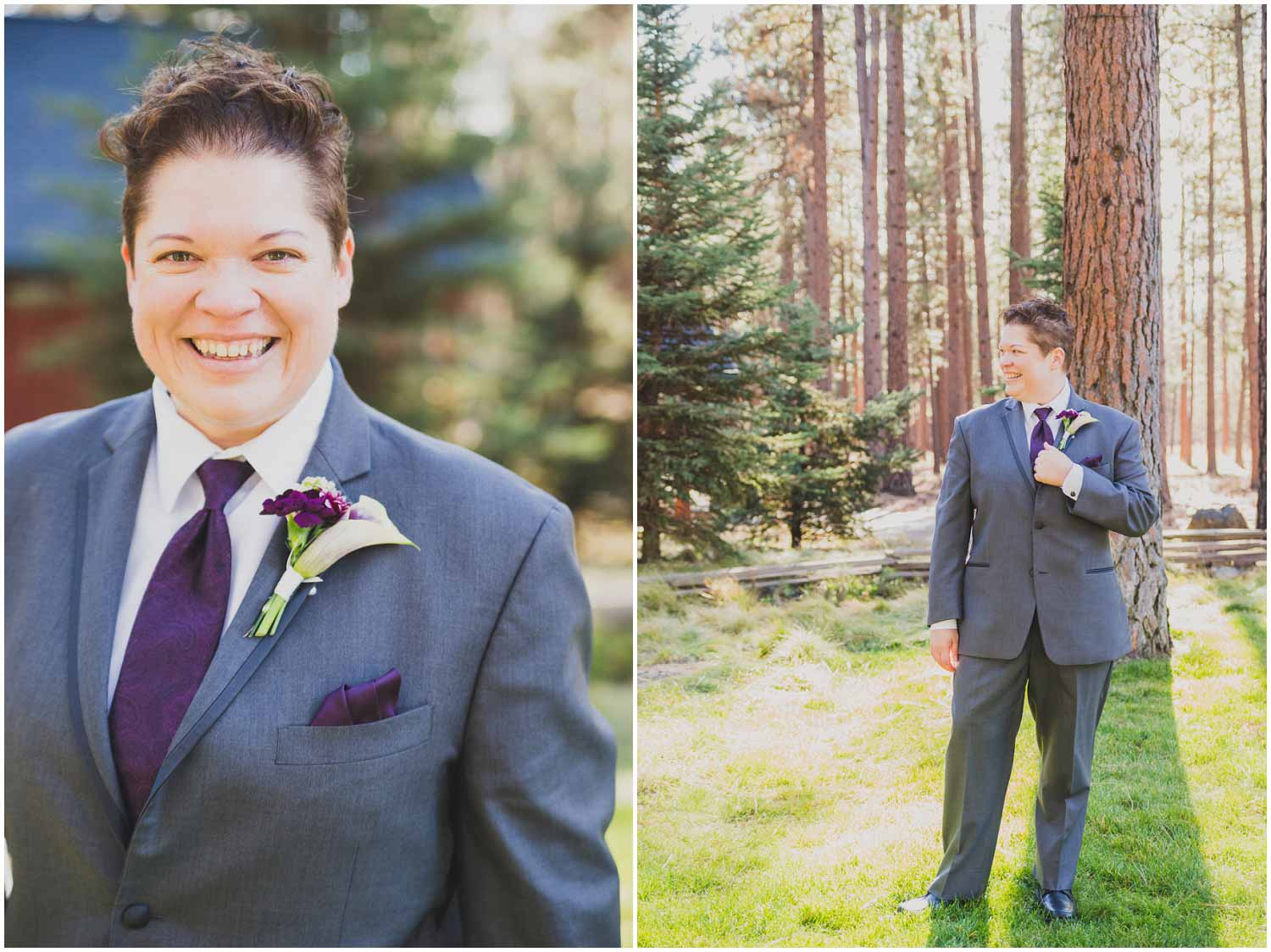 handsome bride in gray suite with purple accents